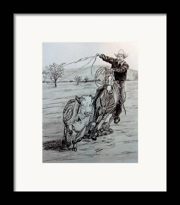 Cowboy Framed Print featuring the drawing Ranch Work by Stan Hamilton