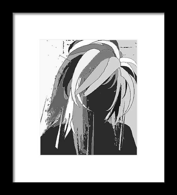 Portrait Framed Print featuring the digital art Raven by Margie Byrne