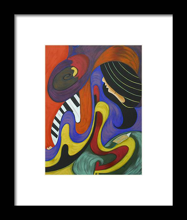 Abstract Expressionism Framed Print featuring the painting Reading With Music by Marta Giraldo