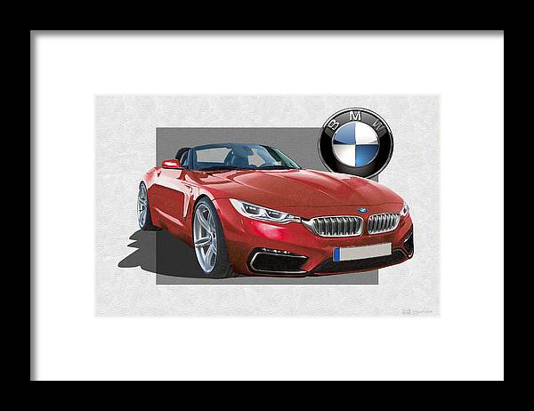 �bmw� Collection By Serge Averbukh Framed Print featuring the photograph Red 2018 B M W Z 5 with 3 D Badge by Serge Averbukh