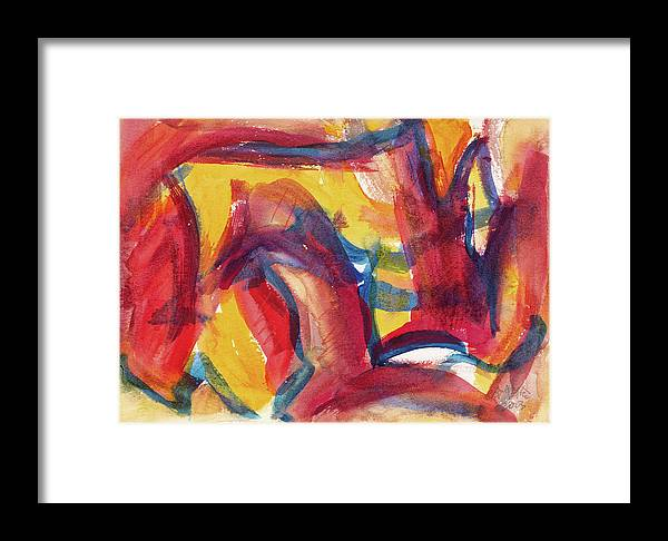 Red Abstract Painting Framed Print featuring the painting Red Abstract Painting by Zhong Ling