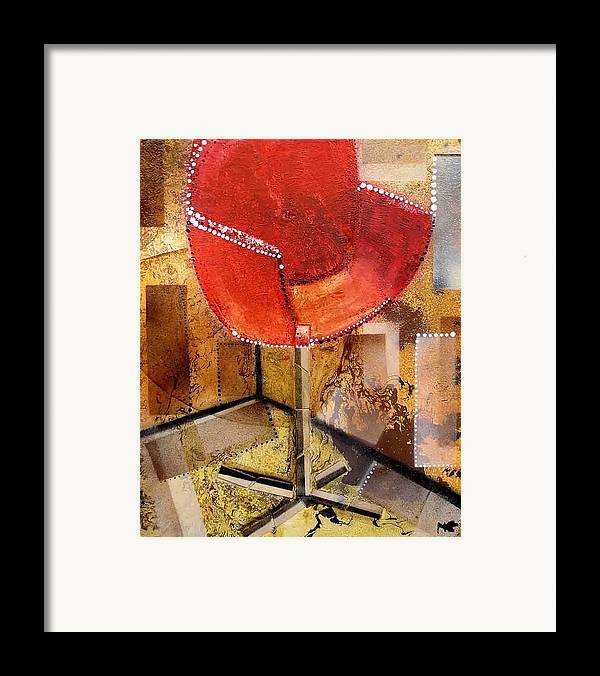 Framed Print featuring the painting Red Chair by Evguenia Men