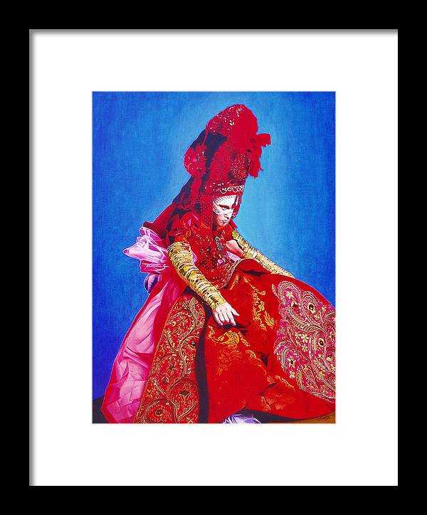 Renaissance Dress Framed Print featuring the painting Red Dress Too by Vlasta Smola
