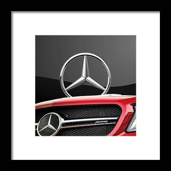 'auto Badges' By Serge Averbukh Framed Print featuring the photograph Red Mercedes - Front Grill Ornament and 3 D Badge on Black by Serge Averbukh