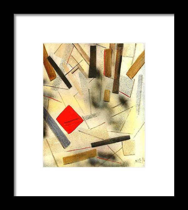 Framed Print featuring the painting 1 Red Object by Evguenia Men