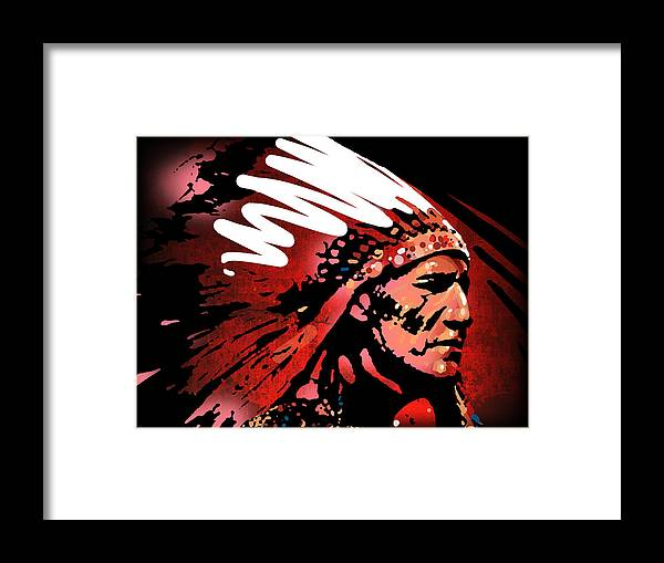 Native American Framed Print featuring the painting Red Pipe by Paul Sachtleben