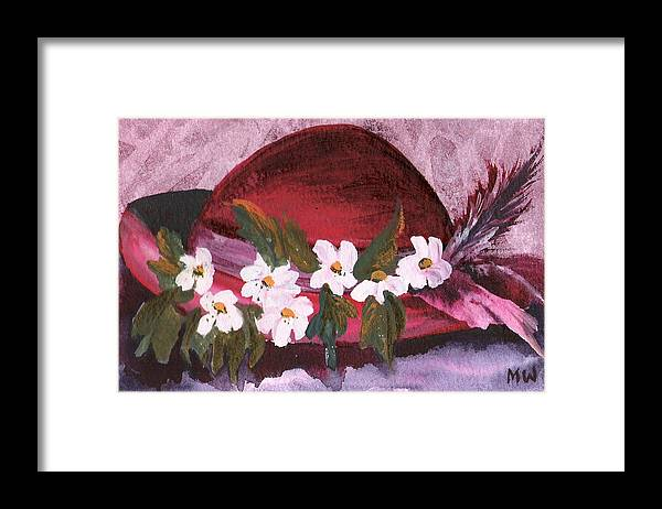 Hat Framed Print featuring the painting Red Velvet by Marsha Woods