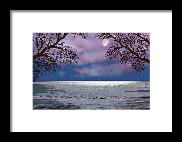 Seascape Framed Print featuring the digital art Reflections by Tony Rodriguez