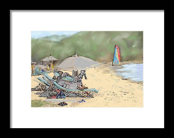 Beach. Toursts Framed Print featuring the digital art Reggae Beach by Ian MacDonald
