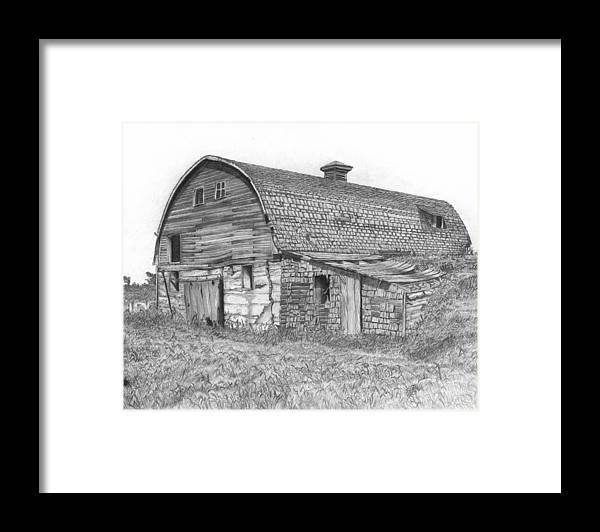Barn Framed Print featuring the drawing Reid Barn by Dean Herbert