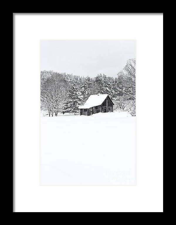 New Hampshire Framed Print featuring the photograph Remote Cabin In Winter by Edward Fielding