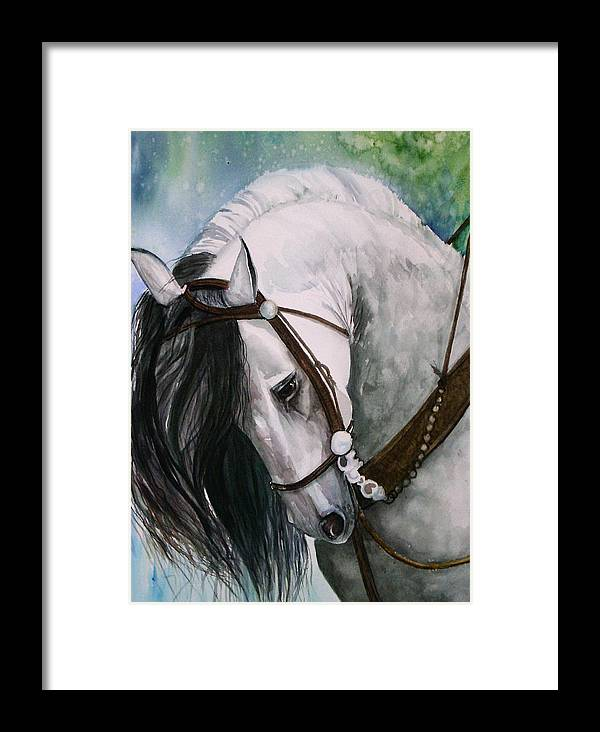 Andalusian Framed Print featuring the painting Renaldo by Gina Hall