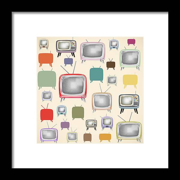 Analog Framed Print featuring the painting retro TV pattern by Setsiri Silapasuwanchai