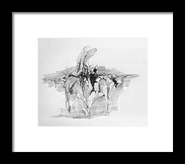 Landscape Framed Print featuring the drawing Rockscape 5 by Padamvir Singh