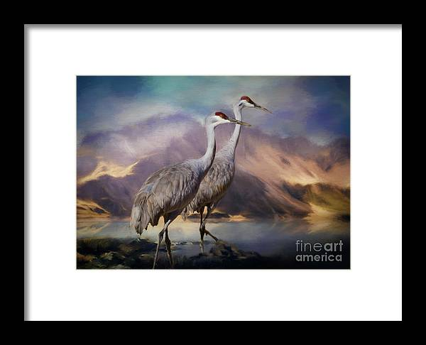 Crane Framed Print featuring the painting Rocky Mountain Sandhill Cranes by Janice Pariza