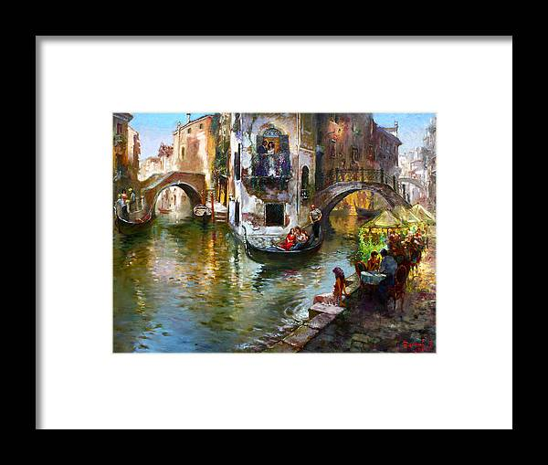 Romance In Venice Framed Print featuring the painting Romance in Venice by Ylli Haruni