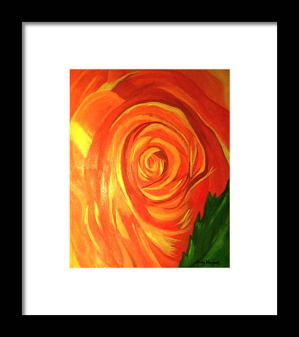Abstract Framed Print featuring the painting Rose by Misty VanPool