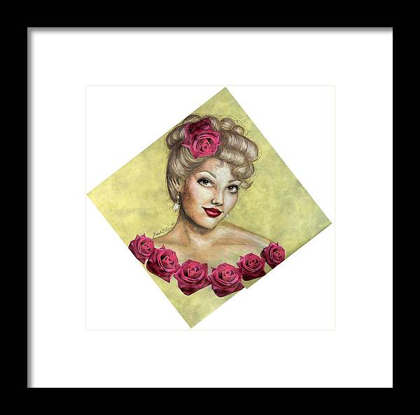 Portrait Framed Print featuring the drawing Rose by Scarlett Royal