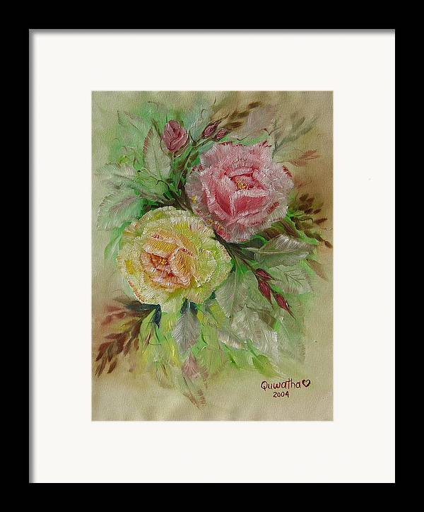 Roses Framed Print featuring the painting Roses by Quwatha Valentine