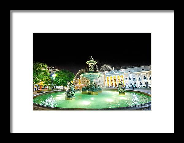 Lisbon Framed Print featuring the photograph Rossio Square Lisbon by Benny Marty