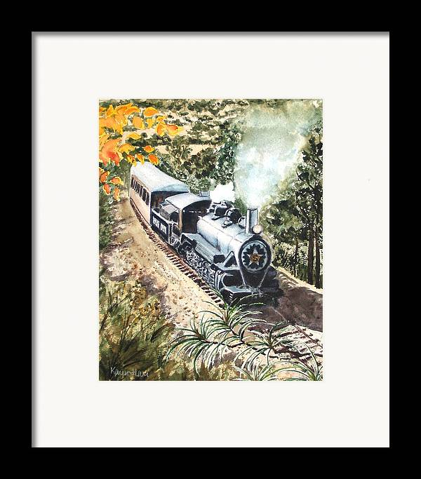 Trains Framed Print featuring the painting Round The Bend by Karen Ilari
