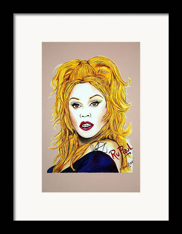 Autographed Framed Print featuring the mixed media Ru Ru by Joseph Lawrence Vasile