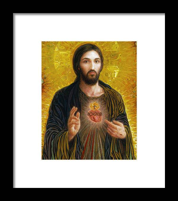 Christ Framed Print featuring the painting Sacred Heart of Jesus by Smith Catholic Art