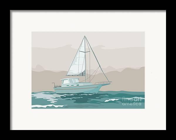 Sailing Ship Framed Print featuring the digital art Sailboat Retro by Aloysius Patrimonio