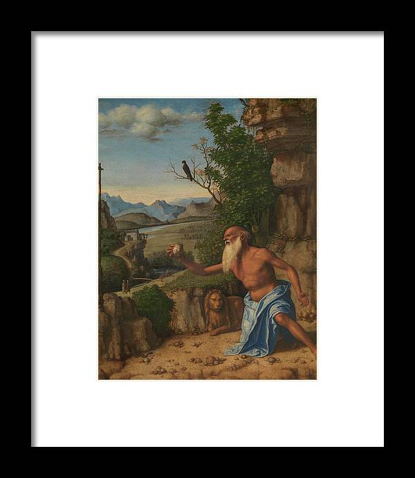 Greyhaired Framed Print featuring the painting Saint Jerome In A Landscape by Giovanni Battista Cima da Conegliano