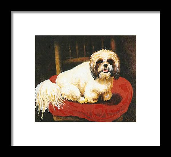 Dog Portrait Artwork Framed Print featuring the painting Sampson by Jordana Sands