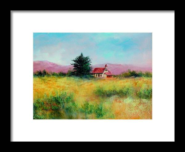 Country Framed Print featuring the painting San Simeon School House by Sally Seago