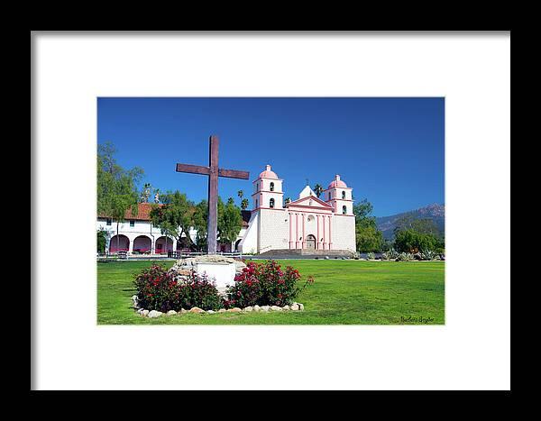 Santa Barbara Mission And Cross Framed Print featuring the photograph Santa Barbara Mission And Cross by Barbara Snyder