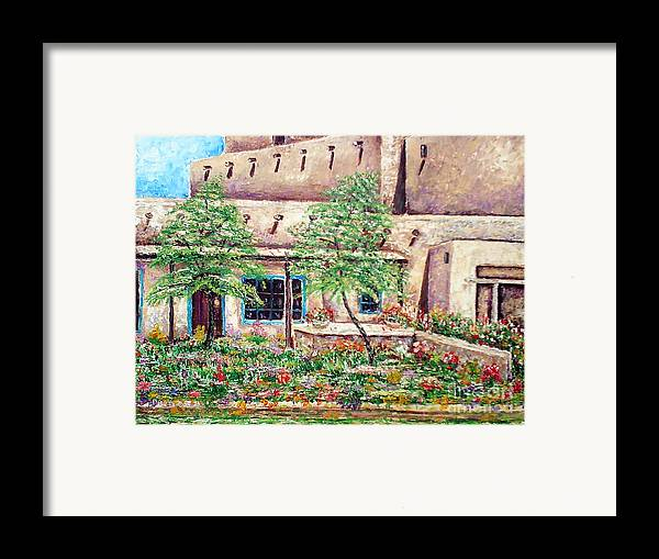 Southwest Framed Print featuring the painting Santa Fe Welcome by Santiago Chavez