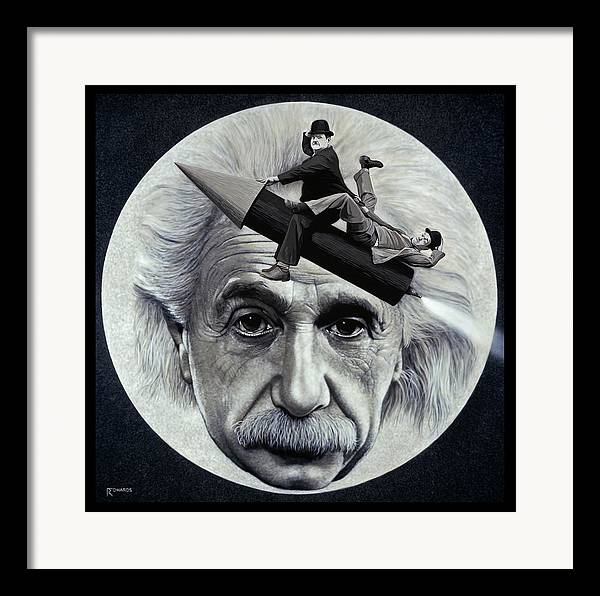 Einstein Framed Print featuring the painting Scientific Comedy by Ross Edwards