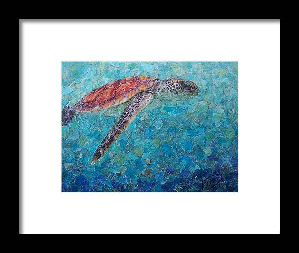 Sea Turtle Framed Print featuring the mixed media Sea Turtle by Becky Ihlow