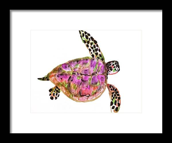 Turtles Framed Print featuring the painting Sea Turtle by Jennifer Thomas