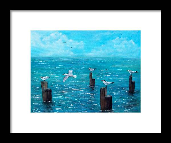 Seascape Framed Print featuring the painting Seagull Seascape by Tony Rodriguez
