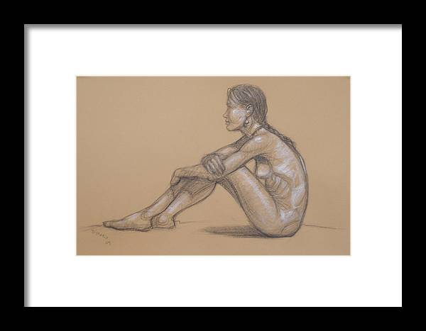 Realism Framed Print featuring the drawing Seated Nude 7 by Donelli DiMaria