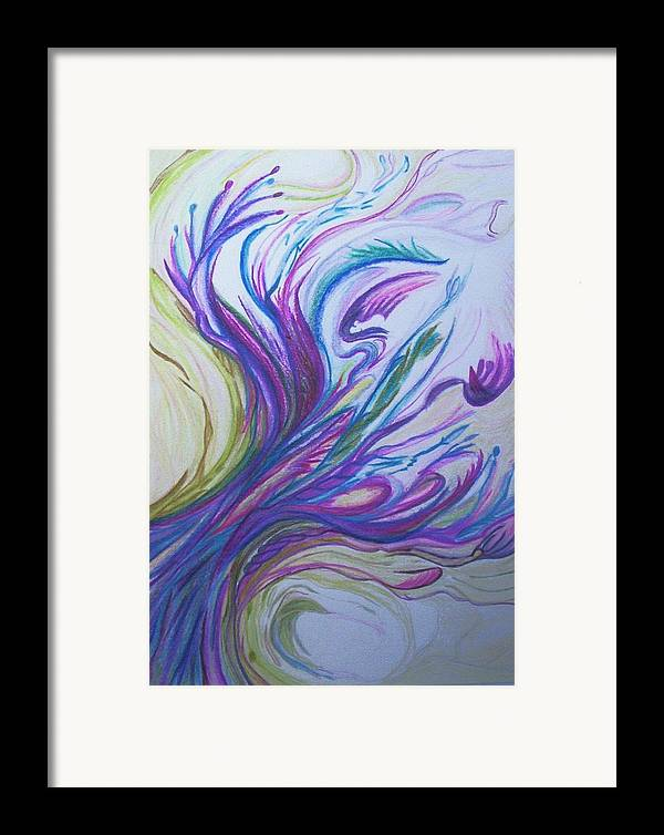 Abstract Framed Print featuring the painting Seaweedy by Suzanne Udell Levinger