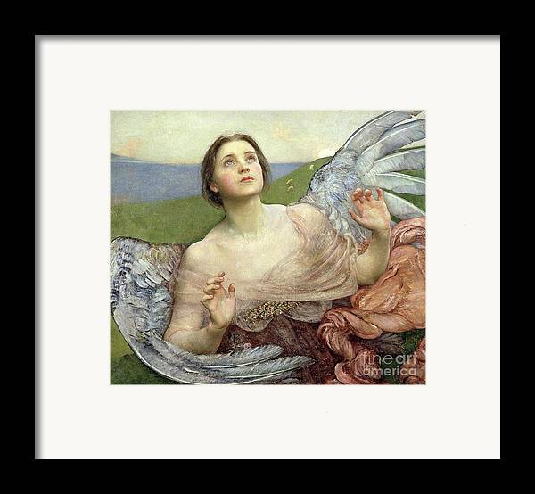 Personification; Wings; Angel; Female; Seeing; Pre-raphaelite; Victorian Framed Print featuring the painting Sense Of Sight by Annie Louisa Swinnerton