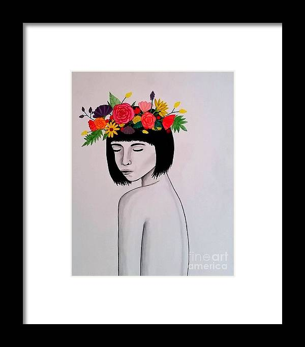 Woman Framed Print featuring the painting Serene by Kestra Bartholomew