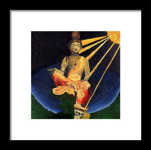 Budda Framed Print featuring the painting Serenity by Gregory Allen Page