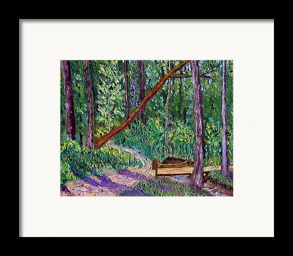 Landscape Framed Print featuring the painting Sewp Trail Bridge by Stan Hamilton