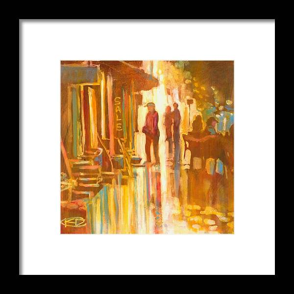 Shopping Framed Print featuring the painting Sidewalk Sale by Kip Decker