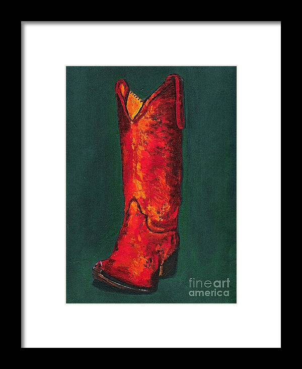 Boots Framed Print featuring the painting Singled Out by Frances Marino