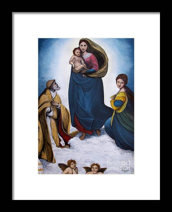 Sistine Madonna Framed Print featuring the painting Sistine Madonna by Judy Kirouac