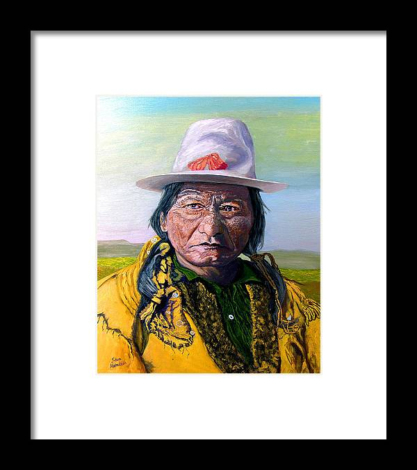 Original Oil On Canvas Framed Print featuring the painting Sitting Bull by Stan Hamilton