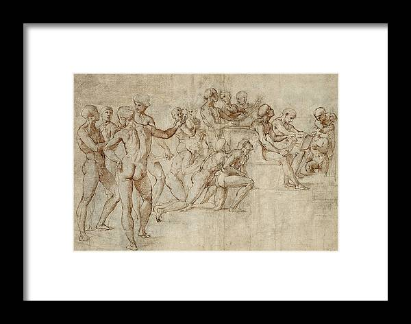 Raphael Framed Print featuring the drawing Sketch For The Lower Left Section Of The Disputa by Raphael