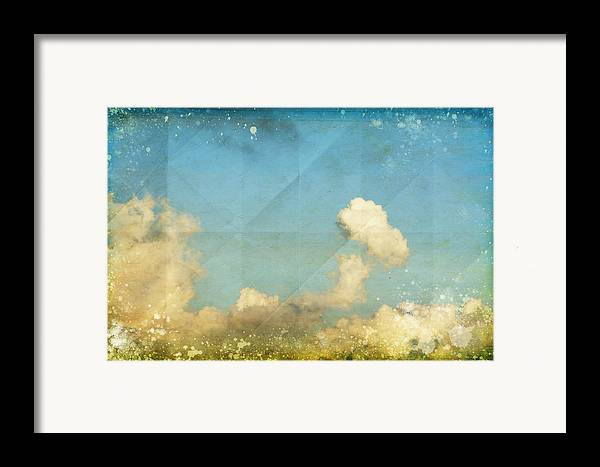 Abstract Framed Print featuring the photograph Sky And Cloud On Old Grunge Paper by Setsiri Silapasuwanchai