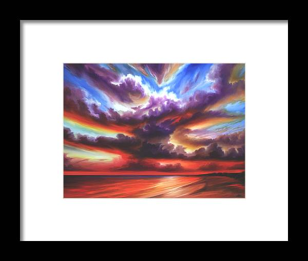 Sunrise Framed Print featuring the painting Skyburst by James Christopher Hill